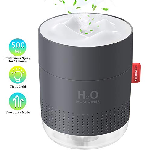 FoPcc 500ml Portable Humidifier Mini Cool Mist Humidifier with Night Light USB Personal Humidifier Auto ShutOff UltraQuiet 2 Spray Modes Suitable for Home Baby Bedroom Office Travel Gray