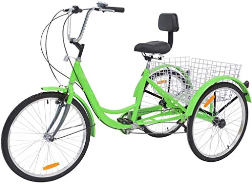 HTNBO Adult Tricycles 7 Speed, Adult Trikes 20/24 / 26 inch 3 Wheel Bikes, Three-Wheeled Bicycles Cruise Trike with Shopping Basket for Seniors, Women, Men.