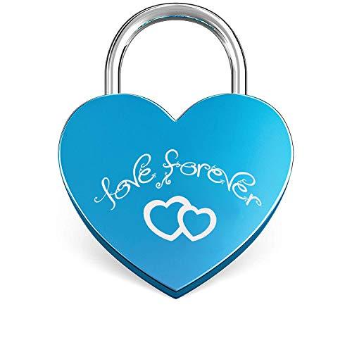 Candado en Forma de Corazón,Mini Candado de Amor en Forma de Corazón con Llaves y Grabado en Forma de Corazón para Bolso de Equipaje Diario Regalo Azul
