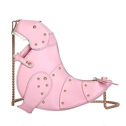 LAANCOO 1 Female Messenger Bag, 3D Dinosaur Shape Mailer, Pu Leather Handbag, Makeup Storage, Mini Shoulder Bag, The Best Gift for Girls (pink)