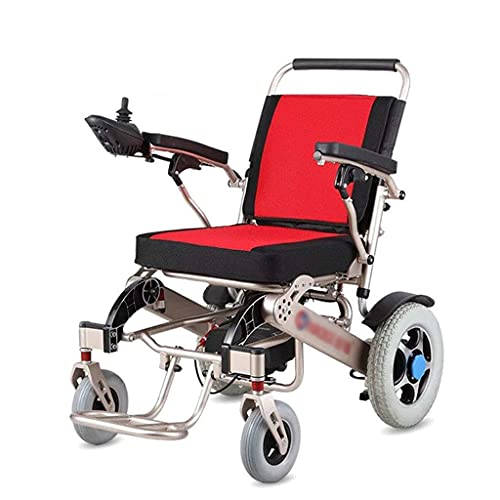 FGVDJ Silla de Ruedas eléctrica Plegable, aleación de Aluminio Ligera, Silla de Ruedas eléctrica, absorción de Impactos, Scooter para Ancianos Resistente al Desgaste