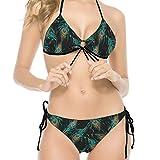Ballbollbll Azul Pavo Real Pluma Bikini Traje De Baño Strappy Back Lace Up Trajes De Baño Retro Bikini Set 2 Piezas Blanco s