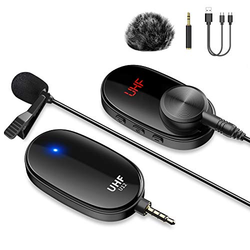 Wireless Lavalier Microphone System for iPhone Computer Rechargeable Wireless Lapel Clip-on Mic with Transmitter & Receiver for PC Android Phone DSLR Camera iPad Video Recording YouTube Zoom Teaching