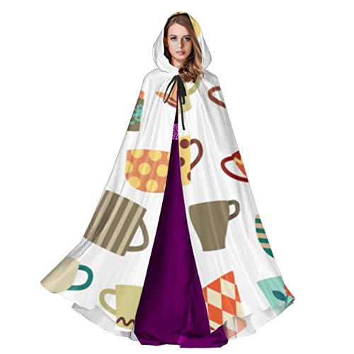 Yushg Teteras Tazas Y Flores Cape Cloak Dress Niños con Capucha 59inch para Navidad Disfraces de Halloween Cosplay