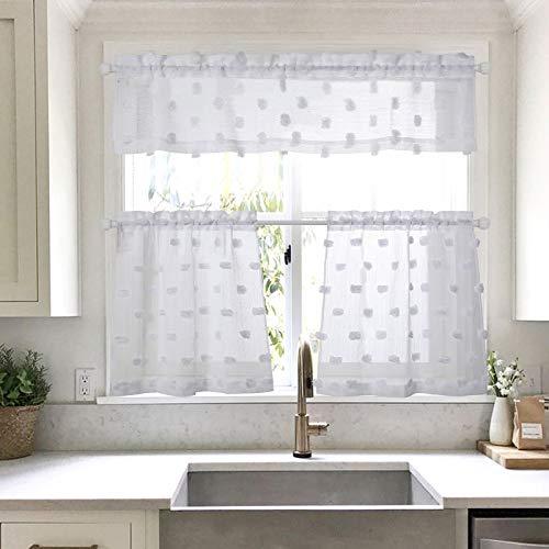 MYSKY HOME Pom Pom White Kitchen Curtains 24 inch Length 3 Pieces Jacquard Rod Pocket Sheer Tier and Valance Curtain Sets