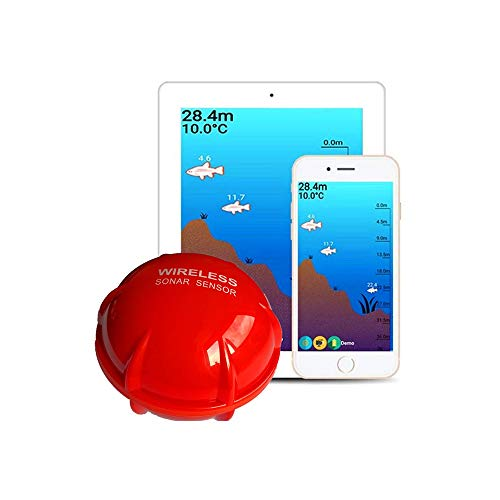 Angelzubehör Fischfinder Sonar, Wireless Handy-Sonar-Sensor-Echo Echolot Fisch Detect for IOS Android App Outdoor Angeln (Color : Red, Size : One Size)