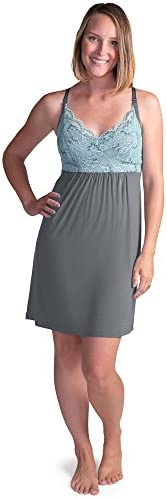 Kindred Bravely Lucille Nursing Nightgown Maternity Gown Ocean Mist Medium product image