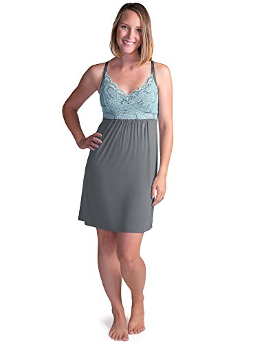 Kindred Bravely Lucille Nursing Nightgown & Maternity Gown (Ocean Mist, Large)