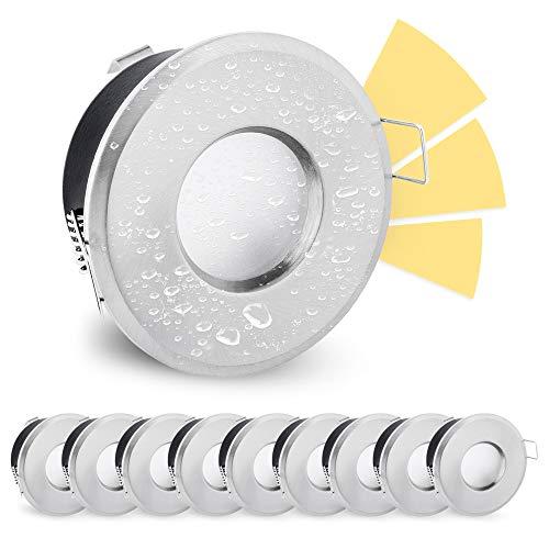 linovum LED Außen Einbauleuchte fourSTEP 5W warmweiß 10er Set gebürstet - Dimmbar ohne Dimmer mit IP65 Wasserschutz für Bad und Feuchträume