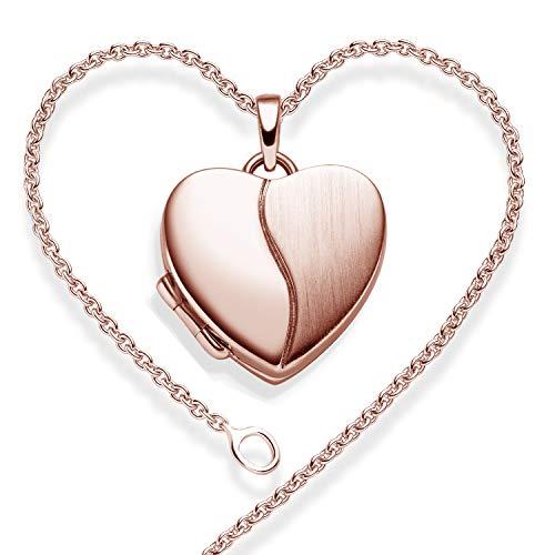 Foto Medaillon Herz Rosegold hochwertig vergoldet Herzkette Herz Anhänger zum Öffnen mit Kette inkl. GRATIS Luxus-Etui + - Herz Amulett Herzmedaillon Fotos Bild Bilder FF99 VGRS45