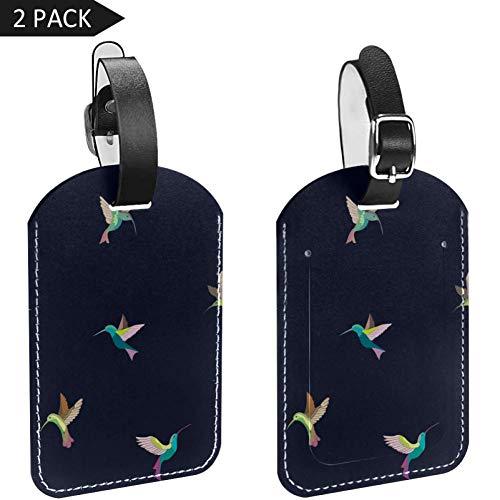Etiquetas de equipaje de color con diseño de pájaros voladores de cuero,...