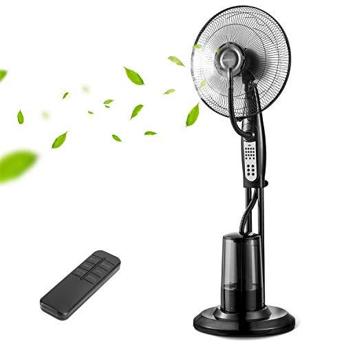 Aigostar Breeze - Ventilador de pie con nebulizador de agua, oscilante, mando a distancia, temporizador, 3 modos, 3 velocidades, 75W, flujo de aire 22m/s, nebulización ultrasónica. Diseño exclusivo
