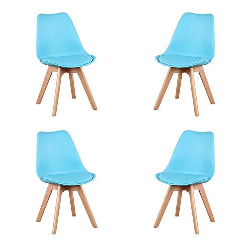 Comfortableplus 4er Set Esszimmerstühle mit Massivholz Buche Bein, Retro Design Gepolsterter lStuhl Küchenstuhl Holz (Blau-4pcs)