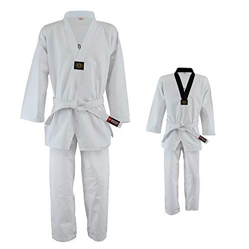 Twister Taekwondo Uniform 8oz Poly/Cotton with embrodary on Back (White - V, 0000)