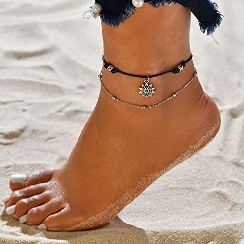 cavigliera donna stoffa Zoestar Boho - Cavigliera doppia in argento con girasole