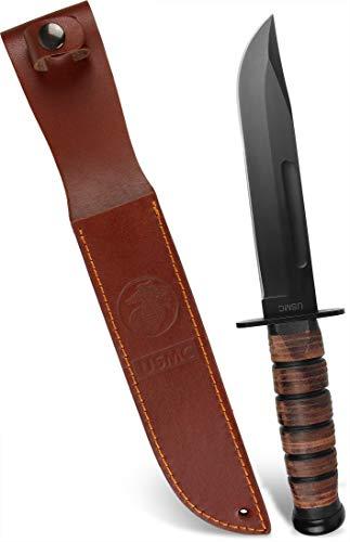USMC Outdoor Messer aus Carbonstahl, Griff mit Lederriemen, inkl. Lederscheide