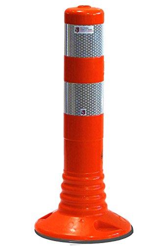UvV UVTP4131 Flex-Absperrpfosten 450mm, 45 cm flexibler sperrpfosten reflexfolie Orafol 5931 Silber (DIN Reflexfolie- EN 12899-1:2008, RA2/C) - als flexibler Sperrpfosten mit stabilem Standfuß