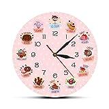 Fuxwlgs Reloj de Pared Delicioso Dulces y Postres Panadería Signo Signo Decorativo Reloj de Pared No Ticket Wall Clock for Kitchen Cafe Bar Restaurant (Color : No Frame)