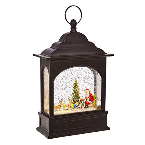 Lighted water lantern with swirling glitter