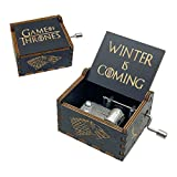 Game of Thrones Music Box, Wooden Hand Crank Unique Musical Boxes, Antique Vintage Crafts Laser Engraved Home Decorations for Christmas, Wedding, Valentines, Birthday Gifts(Black)