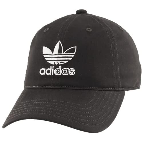 adidas Originals Gorra con logotipo de trébol dividido para hombre - 979011, Gorra de ajuste relajado con logo de trébol dividido, Talla única, Negro/Blanco