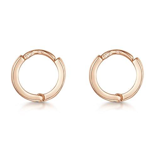 Amberta Orecchini a Cerchio da Donna in Argento Sterling 925 Placcato Oro Rosa 14 Carati: Diametro 10 mm