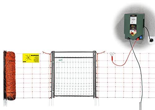 100m Elektronetz mit Elektro Netztür und 230 V Weidezaungerät - für Schafe, Ziegen, Hunde, Wildabwehr im Garten - Aufbau in wenigen Minuten, ohne Werkzeug!