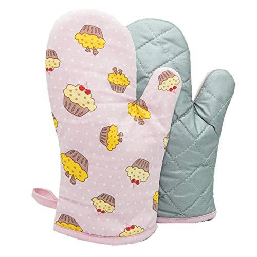 Voarge 1 Paar Verdickte Hitzebeständige Ofenhandschuhe, Backofenhandschuh Hitzebeständig, in vielen lustigen Designs, Rosa Kuchen