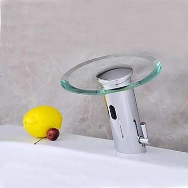Furesnts casa moderna cucina e bagno rubinetto in ottone cromato e cascata di vetro sensore attivato il lavandino del bagno rubinetti,(Standard G 1/2 tubo flessibile universale porte)