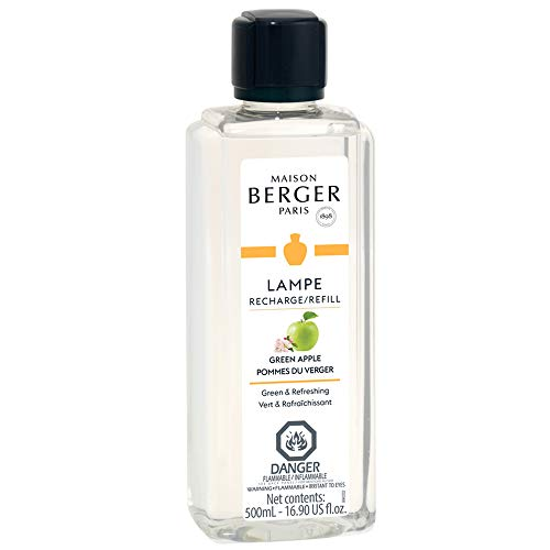 Lampe Berger Fragrance Refill by Maison Berger | for Home Fragrance Oil Diffuser | Purifying and perfuming Your Home | 16.9 Fluid Ounces - 500 milliliters | Made in France (Green Apple)