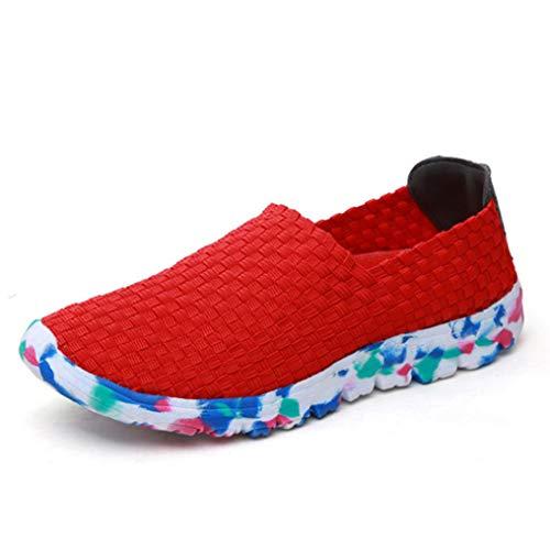 Zapatillas De Deporte Casuales para Mujer Mocasines De Cuña Tejida Hechos A Mano De Verano Pisos Cómodos Y Transpirables Zapatos Deportivos De Fondo Suave con Punta Redonda