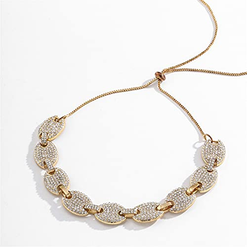 XinLuMing Men Women Hip Hop Iced Out Link Chain, Coffee Beans Full Diamonds Choker Necklace, Skirt Fashion Exaggerated Plated Chain, Christmas Valentine Boyfriend Gift (Color : Gold)
