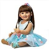 55 cm Poupée bébé en Vinyle en Silicone Poupées réalistes Reborn Girl avec Robe Bleue pour Enfants 3+ Ans