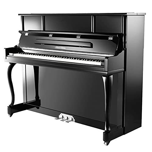 FZQSTZR Professional Grade Examination Vertical Solid Wood Piano, Stainless Steel Three Pedals and Plastic Single-wheel Casters, Environmentally Friendly Paint Shell, Beginners and Children's Home Pra