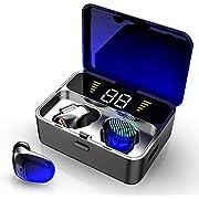 Ecouteur Bluetooth, IPX7 Ecouteur sans Fil Bluetooth 5.0 avec Micro, 100H Playtime Oreillette Bluetooth, 2000mAh, Affichage LED, Touch-Control, Auto-Pairing, Convenable pour iOS Android