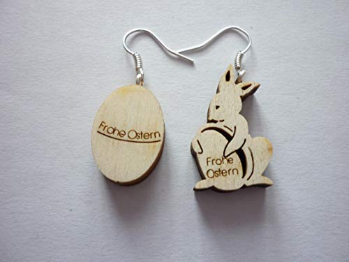 Ohrringe Ohrhänger Osterei Frohe Ostern Osterhase Holz