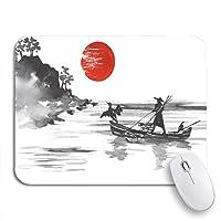 NINEHASA 可愛いマウスパッド 水彩日本伝統的な日本絵画スミEマンボート滑り止めゴムバッキングノートブック用マウスパッドマウスマット