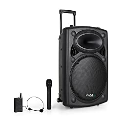 Ibiza BD-Port15VHF Port15 Mobile PA system transportable (USB-SD-MP3, 450 watt, mixer, trolley design, rechargeable battery, 2 wireless microphones)