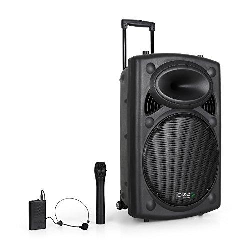 Ibiza BD-Port15VHF mobiel PA-systeem (15 poorten, USB-SD-MP3, 450 watt, mixer, trolley-constructie, incl. accu en 2 draadloze microfoons