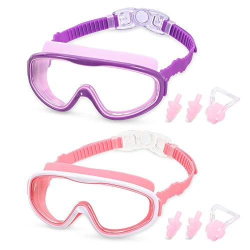 RGIOMA Kids Swim Goggles, 2 Pack Wide View Anti-Fog Swimming Goggles for...