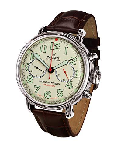 POLJOT International Mechanische Herrenuhr Fliegeruhr Chronograph Moscow Nights Handaufzug