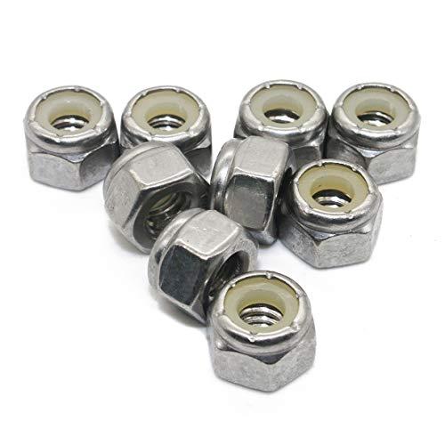 Fullerkreg 1/4-20 Nylon Insert Hex Lock Nuts, Stainless Steel A2-70/304/18-8, Plain Finish, Quantity 50