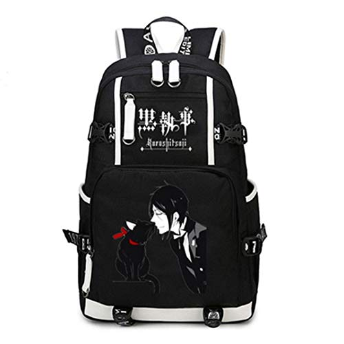 Black Butler/Kuroshitsuji Anime Casual Large Capacity Canvas and PU Backpack Daypack Laptop Bag Satchel College Bag Book Bag School Bag-RuiHai Trading