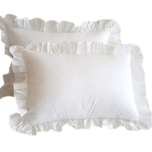 Kuinayouyi Juego de 2 fundas de almohada de algodón sólido con volantes de princesas europeas, 48 x 74 cm