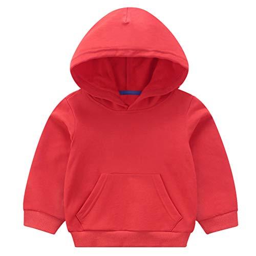 Taigood Ragazzini Bambini E Bambine Incappucciato Cappotto Cappuccio Felpa Hoodie Vestiti dei Bambini per 1-7 Anni Rosso 140 cm / 6-7 Anni