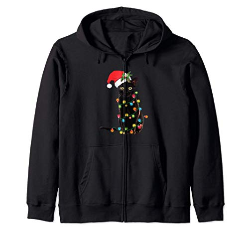 Black Cat Santa enredado en las luces de Navidad Sudadera con Capucha
