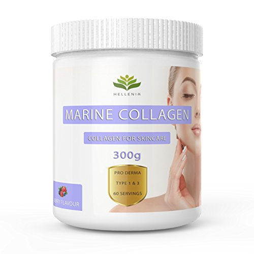 Pure Hydrolysed Marine Collagen Powder 300g | Berry Flavour | Type 1 and 3 | Added Hyaluronic Acid | All 9 Aminos | Supports Skin, Hair, Nails | 60 Servings
