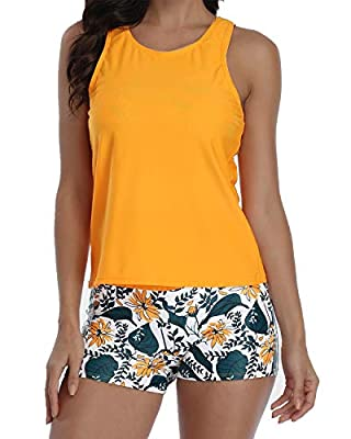 Wavely Athletic 3 Piece Tankini Swimsuit for Women Modest Swimwear with Boyshort Tank Top with Bra and Shorts Orange