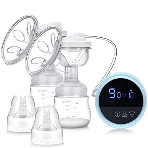 Milchpumpe Elektrische Doppel, MYSWEETY BPA FREI Anti-Rückfluss Brustpumpe Milch mit 3 Modi 9 Level Einstellbar, Intelligente LCD-Anzeige, Milch Stimulieren Massage Laktation, EU Stecker
