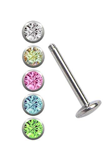 Stahl Piercing Set, EIN Labret mit 4 mm Platte in 1,2 x 6 mm + 5 farbigen Kugeln in 3 mm